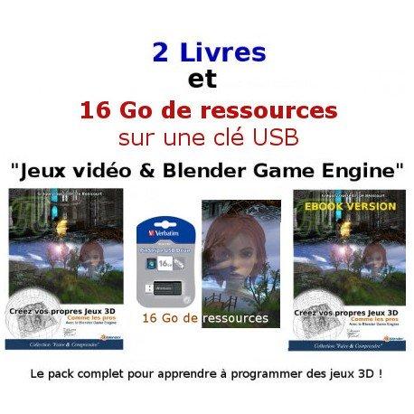 """2 Livres et 16 Go de ressources """"Jeux vidéo & Blender Game Engine"""""""
